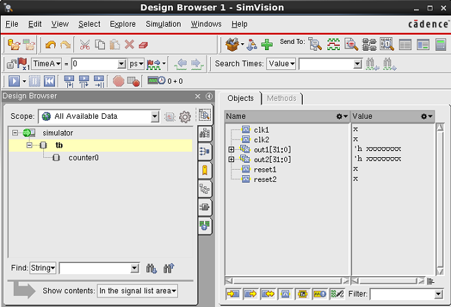 SimVision GUI showing the twocounter modules for Verilog