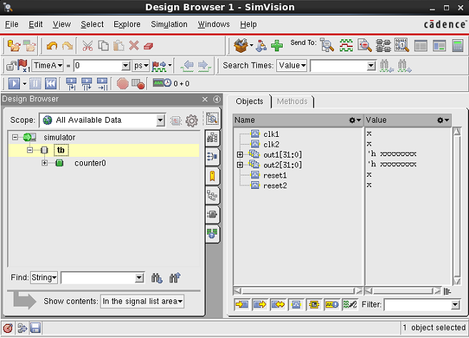 SimVision GUI Sending counter0 to a new Source browser