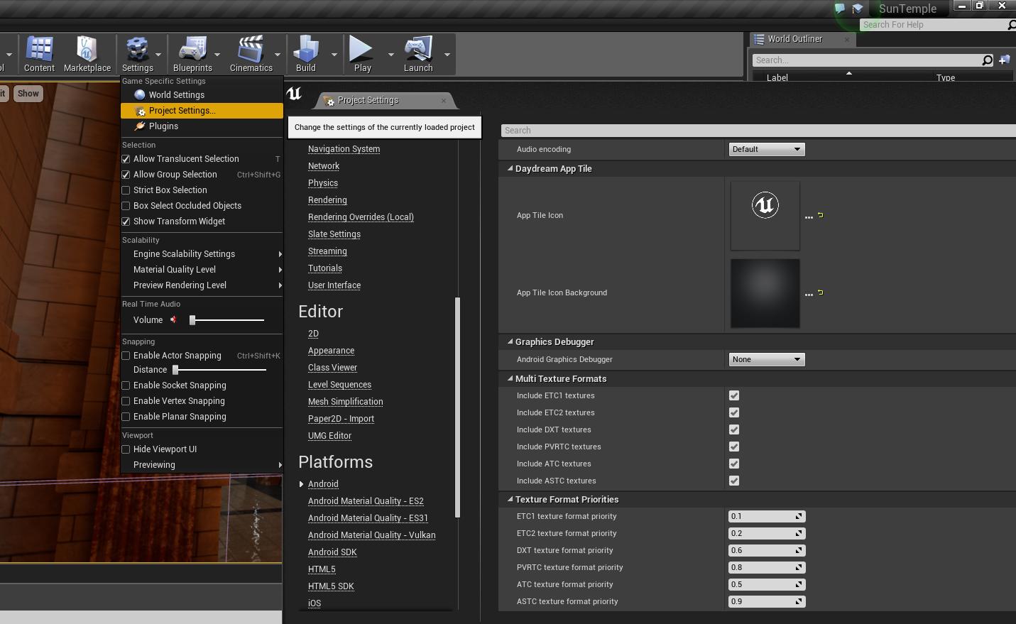 Building an Unreal Engine application with Mali Graphics Debugger