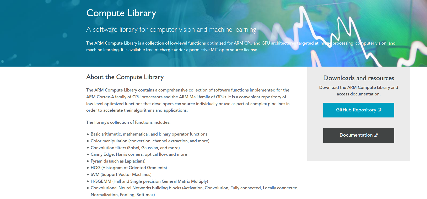 Compute Library on the Arm Developer website