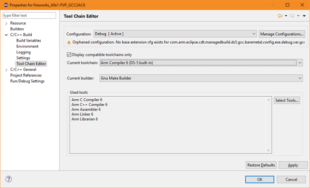Tool Chain Editor view to select the latest Arm Compiler 6
