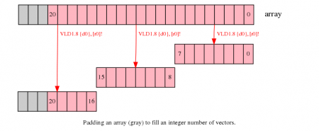 Padding an array to fill an integer number of vectors