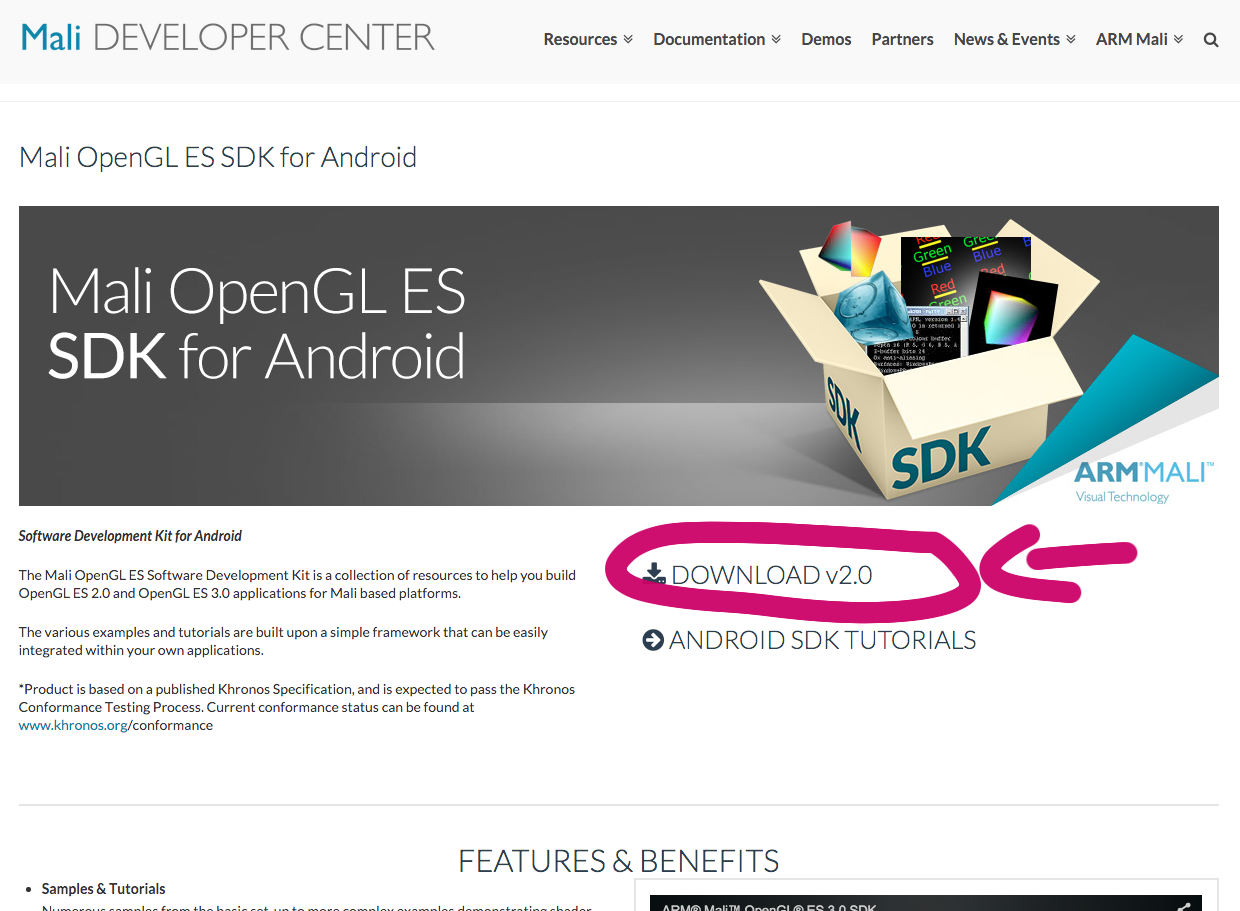 Why when you press download Mali OpenGL ES 3 0 SDK for Android