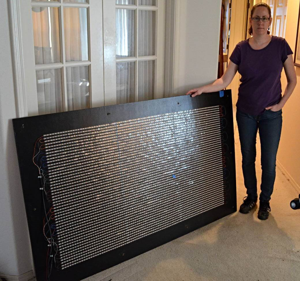 Erin Murphy with LED display