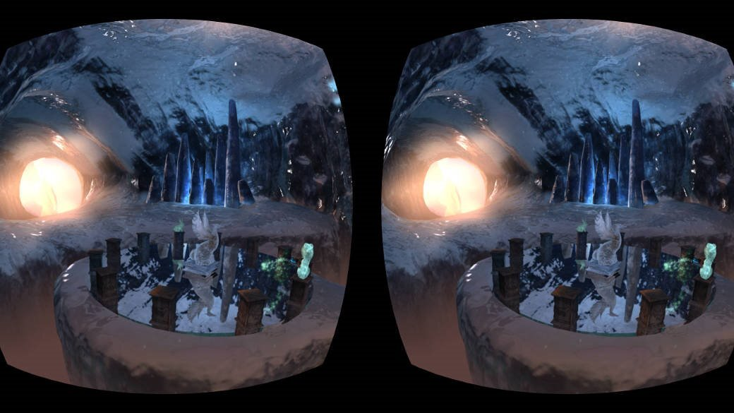 Figure 7. Stereo reflections on the central platform in the Ice cave demo