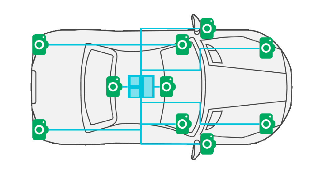 Vehicle diagram with multiple cameras