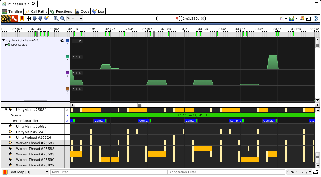 Streamline screenshot, showing worker thread activity in the second scene.