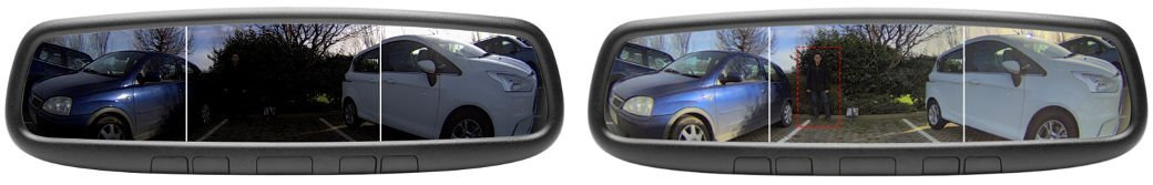 Side by side rearview images car camera