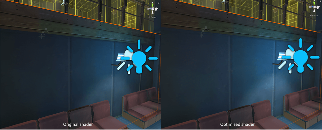 Figure 8: Left: sample scene using Standard lighting. Right: Simplified lighting shaders improved rendering time with little visual impact