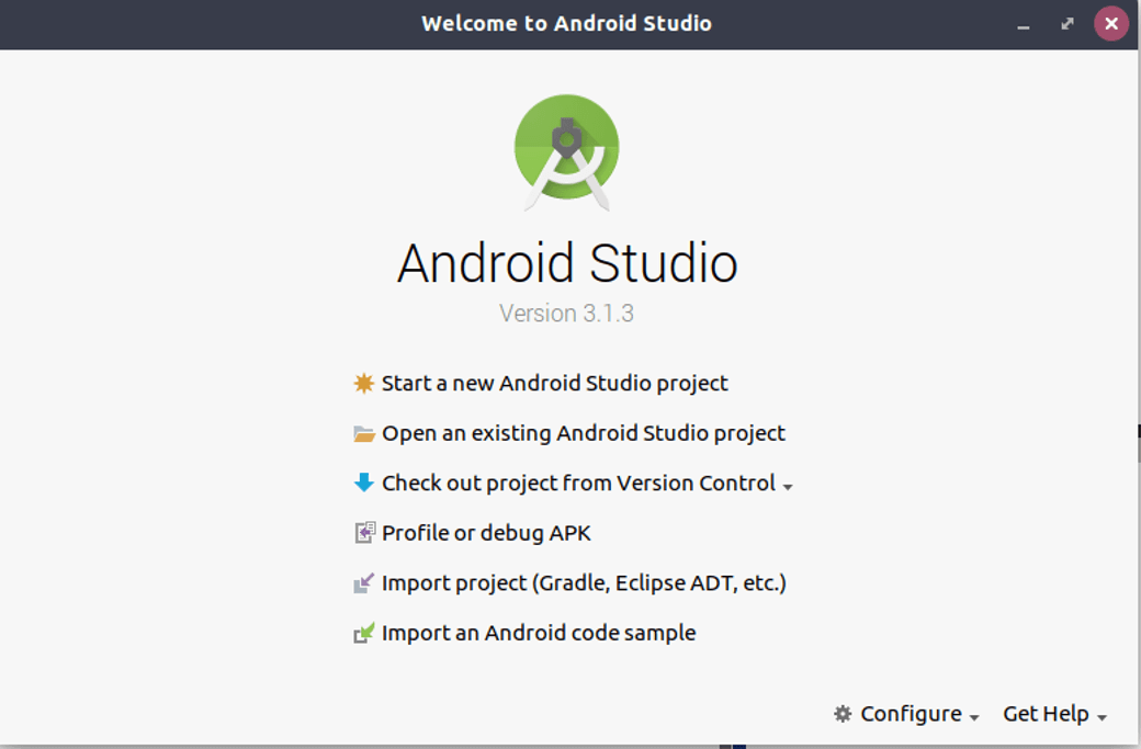 Android Studio start page