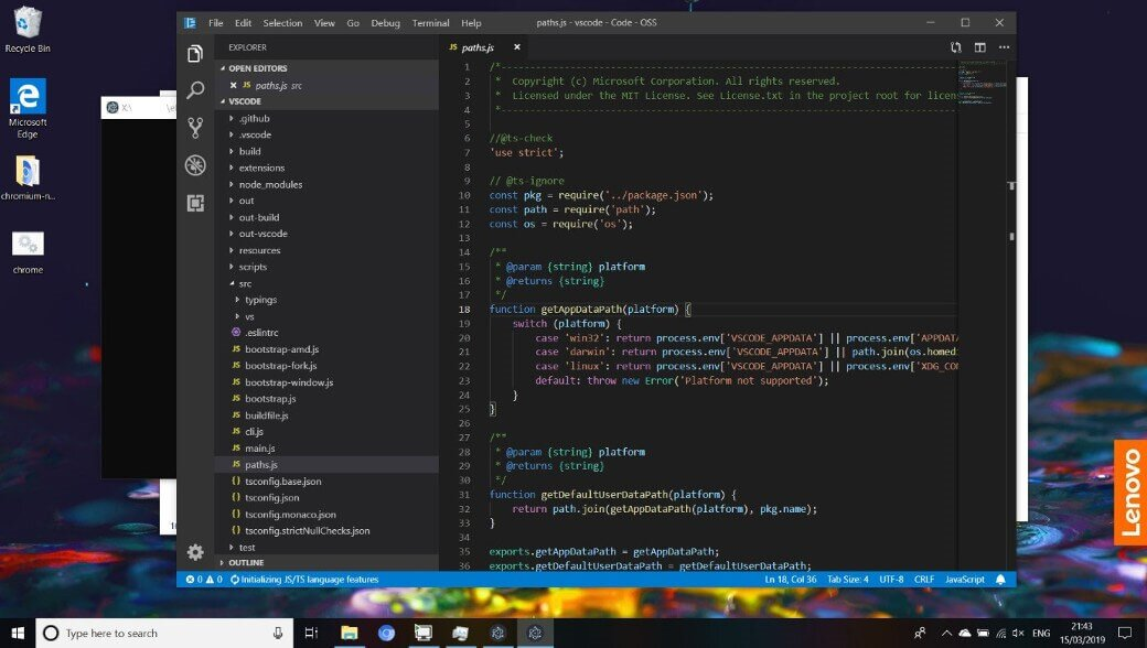 Visual Studio Code running for the first time with all native modules