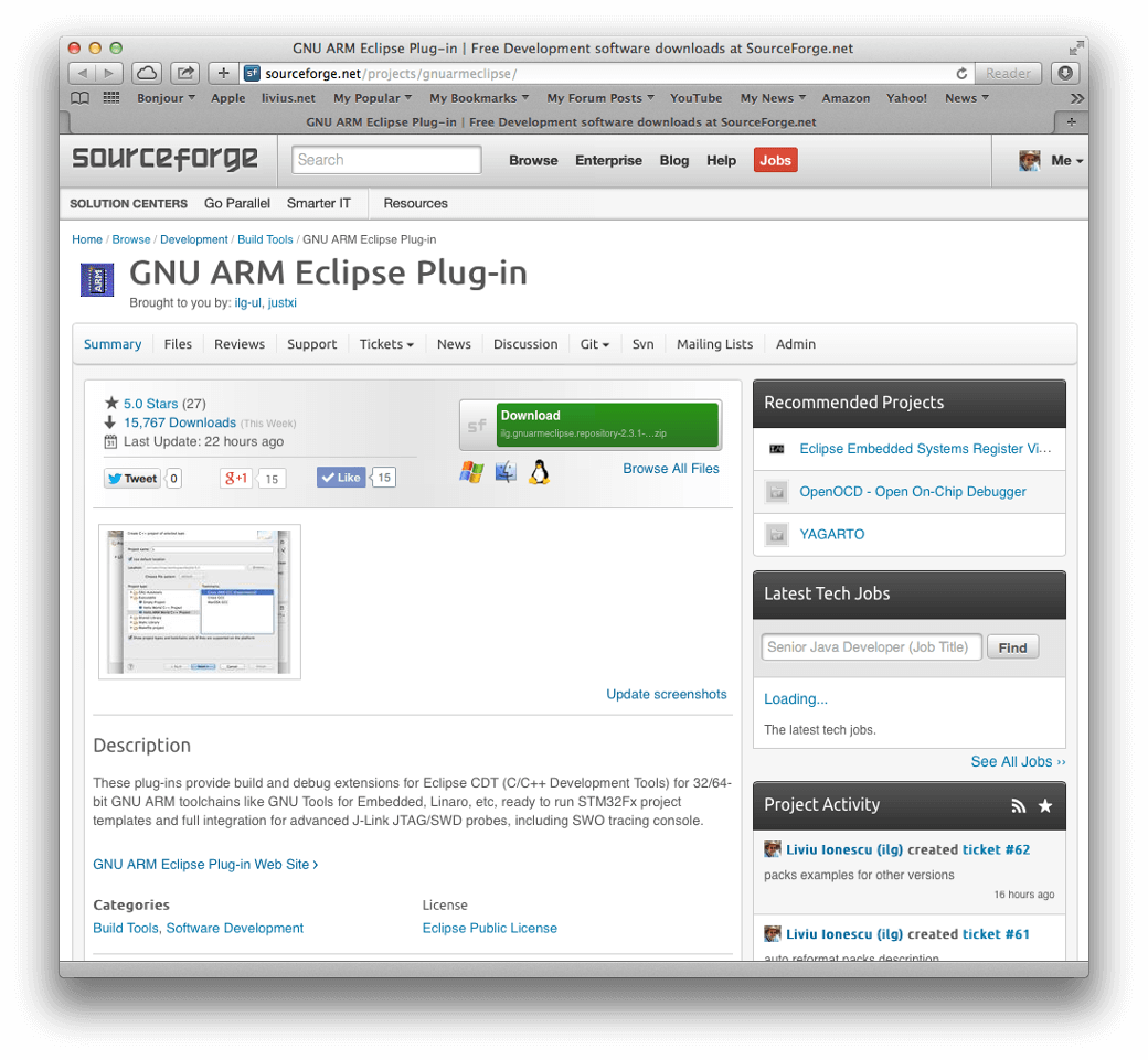 GNU ARM Eclipse: open source tools with CMSIS support - Software