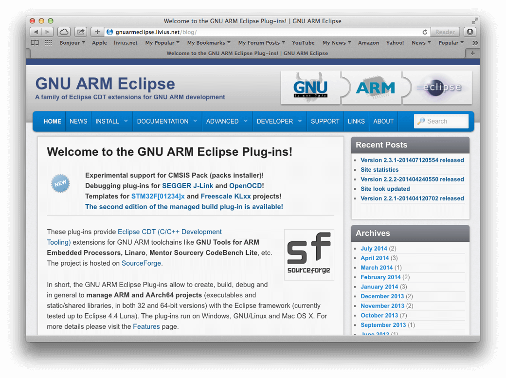 GNU ARM Eclipse: open source tools with CMSIS support