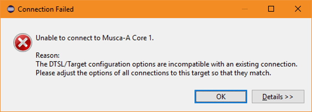 DS-5 Musca-A Core 1 Error message