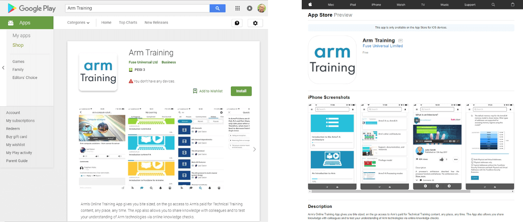 Arm Training App Google Play Apple App Store