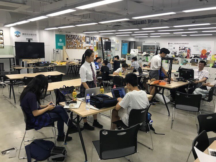 Students from local schools stop by the Mushroom Cloud Maker Space to receive training in robots, deep learning and electronics