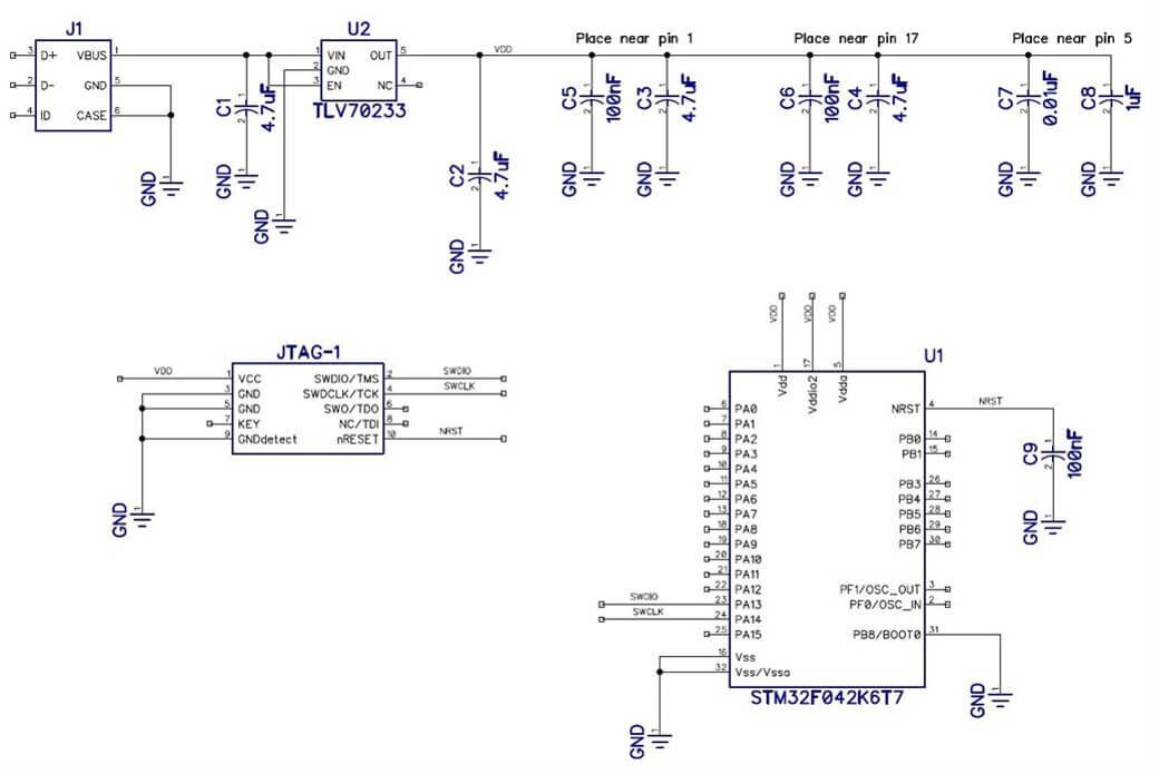 Schematic diagram example for STM32F4 microcontroller