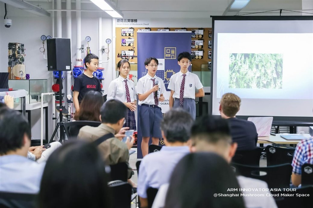 Students presenting at the open mic session