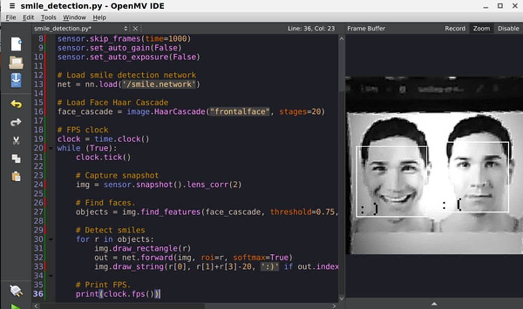 smile detection OpenMV Cam code