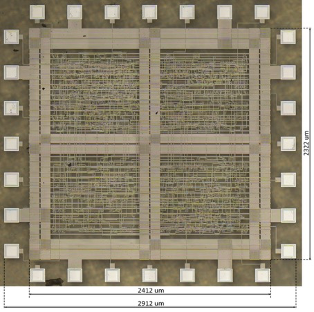 Micrograph of the ML Natively Flexible Processing Engine (NFPE) as a flexible IC.