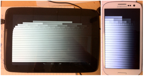 Test shader running on Mali-T604 (Nexus 10, left) and Adreno 225