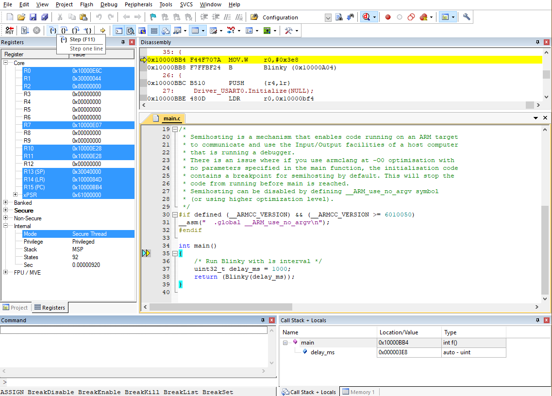 MDK debugging FVP
