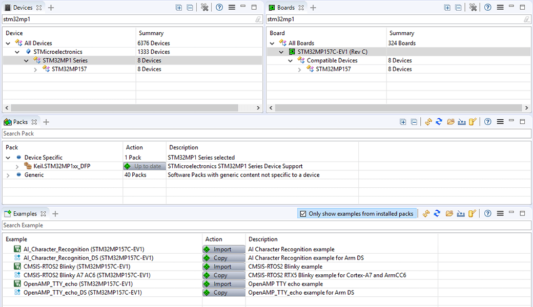 Software pack manager perspective within Arm Development Studio
