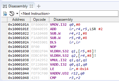 Arm DS debugger disassembly view
