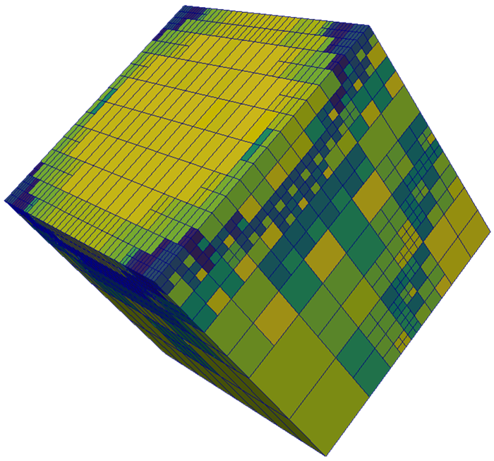 A representation of a physical 3D space with different levels of mesh refinement.